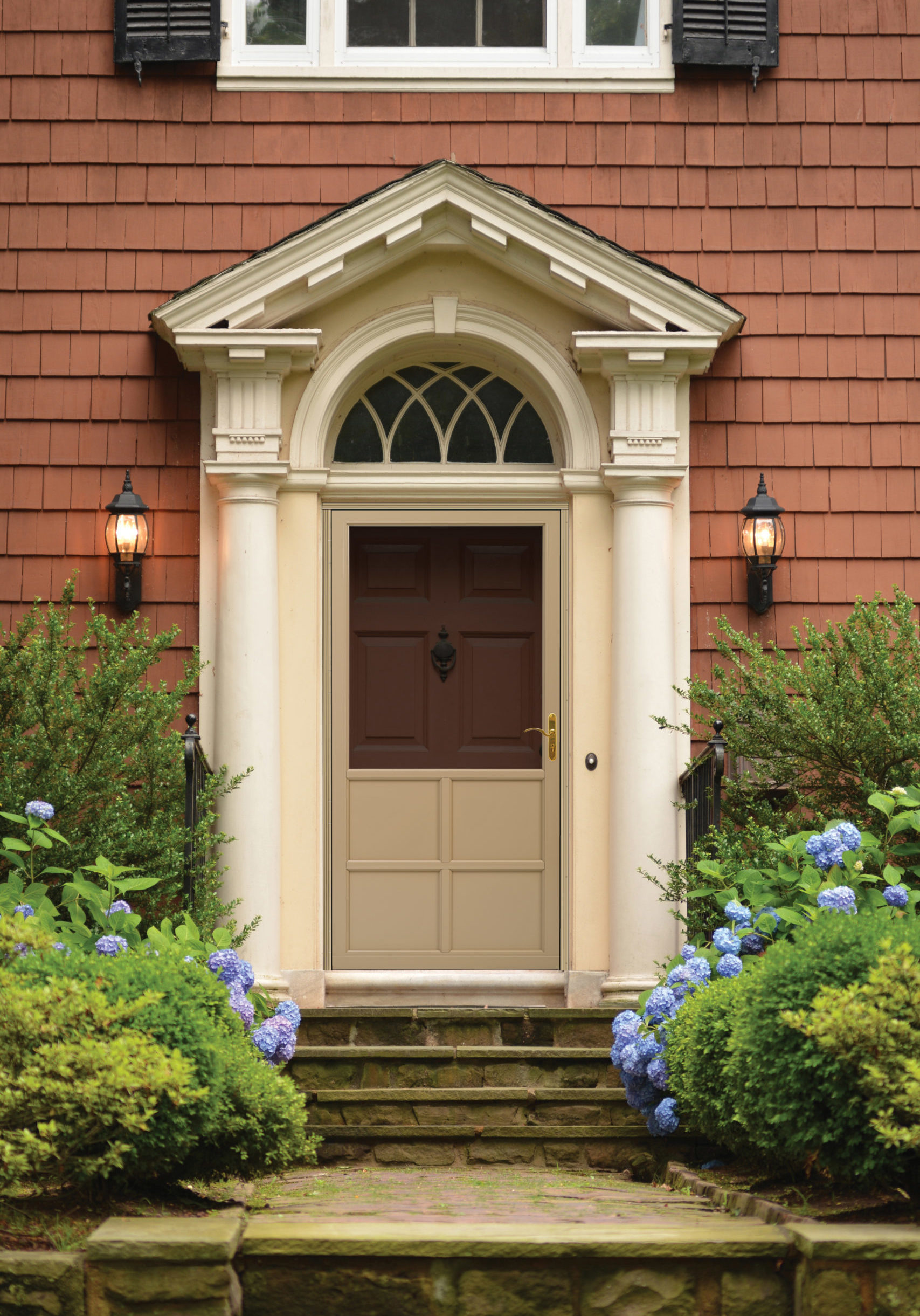Red door of Colonial home. FOR MORE HOUSES AND DOORS (CLICKHERE)